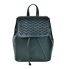 Batohy - Kožený ručne vyšívaný ruksak v lesklej čiernej farbe - 9176123_