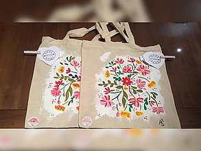 Iné tašky - ♥ Plátená, ručne maľovaná taška ♥ - 9174641_