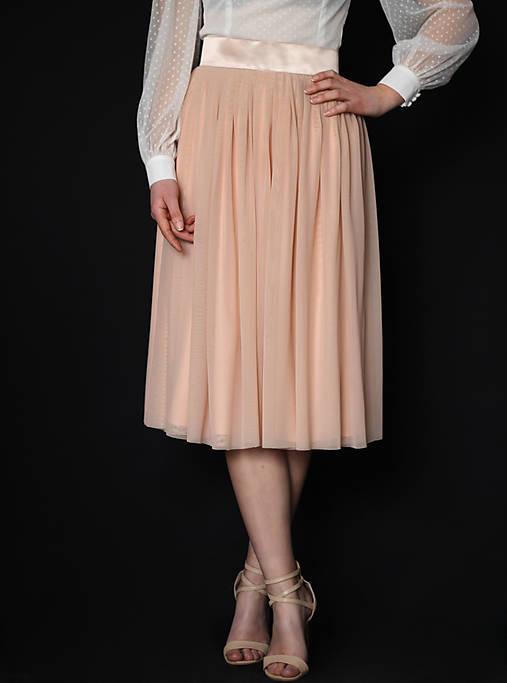 Tylová sukňa so saténovým pásom rôzne farby