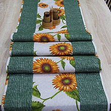 Úžitkový textil - Slnečnice na režnej - stredový obrus - 9175747_