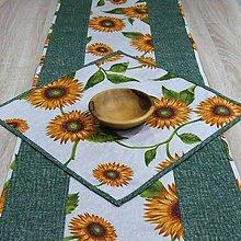 Úžitkový textil - Slnečnice na režnej - obrus štvorec 40x40 - 9176170_