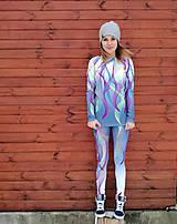 Nohavice - Swirly lines grey - termo oblečenie - 9175239_