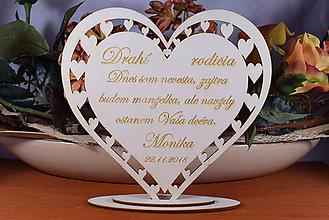Darčeky pre svadobčanov - Poďakovanie Rodičom srdce vyrezávané 12 - 9173244_