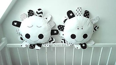 Textil - Slniečko čierno-biele 30cm + lúče - 9180305_