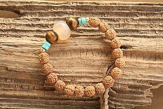 Náramky - Náramok rudraksha, tigrie oko a slnečný kameň - 9177636_