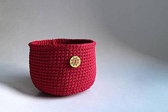 Košíky - Košík - Červený | Bordový | tmavý | gombík | mandala - 9181757_
