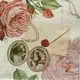 - S1168 - Servítky - ruža, medialón, vintage, láska, love, romantika - 9179500_