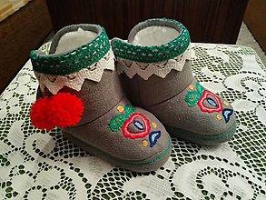 Topánočky - Detské ľudové kapčeky ručná výšivka - 9179238_