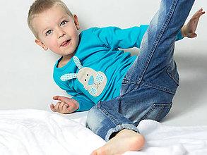 Detské oblečenie - tričko ZAJAČIK TYRKYSÁČIK - 9179147_