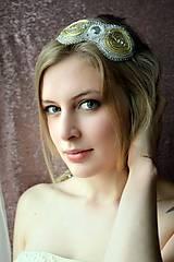Ozdoby do vlasov - Voyage en Arabie -white gold- vyšívaná čelenka - 9178627_