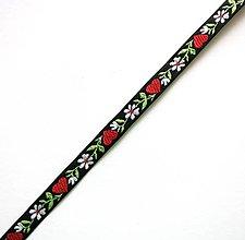 Galantéria - Krojová stuha so srdiečkami 10 mm (1 m) (čierna) - 9178953_