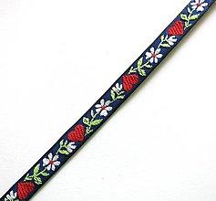 Galantéria - Krojová stuha so srdiečkami 10 mm (1 m) (modrá) - 9178954_