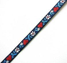 Galantéria - Krojová stuha so srdiečkami 10 mm (1 m) (modrá II) - 9178956_