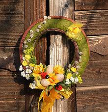Dekorácie - Veľkonočný venček na dvere - 9177498_
