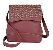 Ručne vyšívaná kožená kabelka v bordovej farbe-béžové vyšívanie