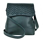 - Ručne vyšívaná kožená kabelka v čiernej farbe - 9179920_