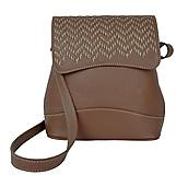 - Ručne vyšívaná kožená kabelka v hnedej farbe-béžové vyšívanie - 9179962_