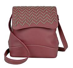 Kabelky - Ručne vyšívaná kožená kabelka v bordovej farbe-béžové vyšívanie - 9179857_