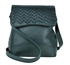 Kabelky - Ručne vyšívaná kožená kabelka v čiernej farbe - 9179920_