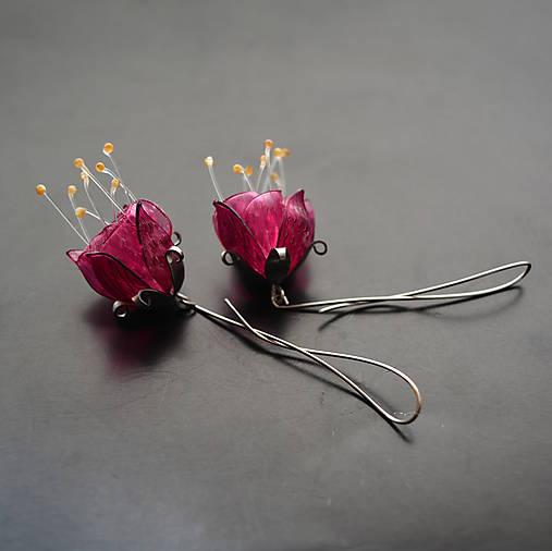 Náušnice - Náušnice PET tmavo ružové puky s pylovými tyčinkami - 9181974_