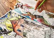"""Grafika - Omaľovánka """"Zazvoň na lásku"""" Akvarel+suchá technika 2KS - 9177568_"""