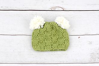 Detské čiapky - VÝPREDAJ! Zeleno-biela čiapka s ušami EXCLUSIVE FINE - 9179567_