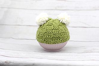 Detské čiapky - Zeleno-biela čiapka s ušami EXCLUSIVE FINE - 9179572_