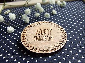 Pierka - Drevený svadobný odznak . Flora - 9180325_