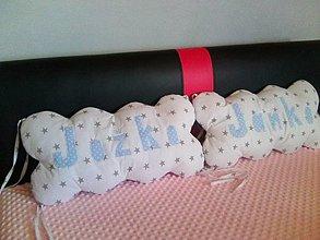 Textil - obláčiky v bielomodrom - 9178447_