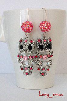 Náušnice - Náušničky sovičky zaľúbené-ružové :) - 9180078_
