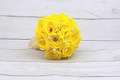 Kytice pre nevestu - VÝPREDAJ! Saténová kytica žltá ruže - 9179868_