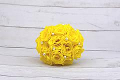 Kytice pre nevestu - VÝPREDAJ! Saténová kytica žltá ruže - 9179870_