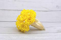 Kytice pre nevestu - VÝPREDAJ! Saténová kytica žltá ruže - 9179872_