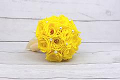 Kytice pre nevestu - VÝPREDAJ! Saténová kytica žltá ruže - 9179876_