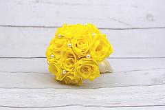 Kytice pre nevestu - VÝPREDAJ! Saténová kytica žltá ruže - 9179878_