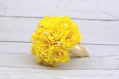 Kytice pre nevestu - VÝPREDAJ! Saténová kytica žltá ruže - 9179880_
