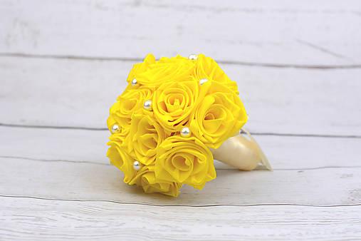 VÝPREDAJ! Saténová kytica žltá ruže