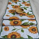 Úžitkový textil - Slnečnice na režnej - stredový obrus(2) - 9178274_