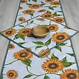 Úžitkový textil - Slnečnice na režnej - stredový obrus(2) - 9178285_