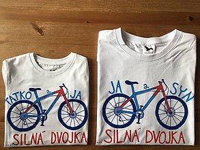 Oblečenie - Otcosynovské maľované tričká s motívom bicykla (Modro - červený variant (pánske + detské tričko)) - 9179292_