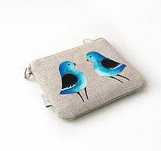 Kľúčenky - Maľovaná kľúčenka Modré vtáčiky - 9177743_