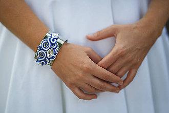 Náramky - Šujtášový náramok modrotlač  (Modrá) - 9179998_