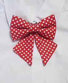 Náhrdelníky - Mašľa červená s bielou bodkou - 9180347_