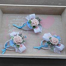 Náramky - Perličkové náramky pre družičky  pastelové ružovo modré - 9184884_