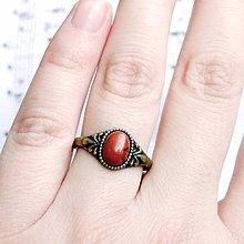Prstene - Simple Mini Bronze Gemstone Ring / Jemný bronzový prsteň s minerálom (Červený ohnivý jaspis) - 9184250_