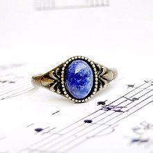 Prstene - Simple Mini Bronze Gemstone Ring / Jemný bronzový prsteň s minerálom (Sodalit) - 9184281_