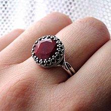 Prstene - Vintage Ruby Silver Ring Ag 925 / Strieborný prsteň s rubínom - 9184329_