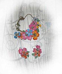 Sady šperkov - lel,vintage kvety, náhrdelník a náušnice - 9184235_