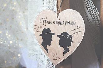 Dekorácie - Srdiečko so siluetami podľa vašej fotografie ''Ja a Ty'' na želanie - 9183819_
