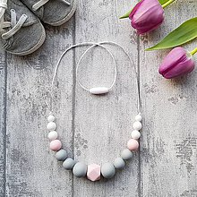 """Náhrdelníky - Silikónový náhrdelník na dojčenie """"Jemnosť v ružovom"""" - 9184333_"""